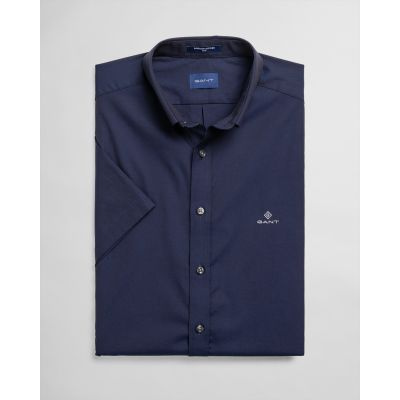 Slim Fit Short Sleeve Pinpoint Oxford Shirt