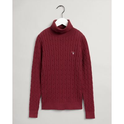Stretch Cotton Cable Turtleneck Sweater