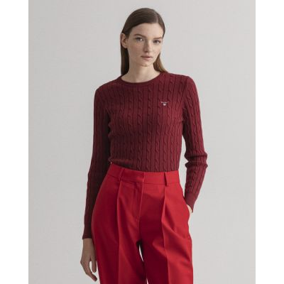 Stretch Cotton Cable Crew Neck Sweater