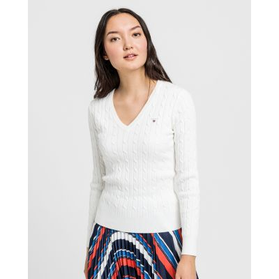 Stretch Cotton Cable V-Neck Sweater