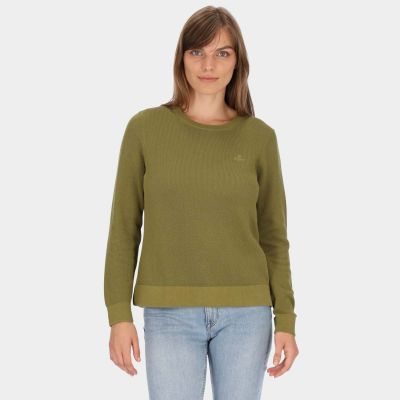 Cotton Pique Crew Neck Sweater