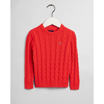 Kids Cotton Cable Crew Neck Sweater