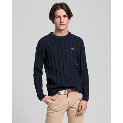 Teen Boys Cotton Cable Crewneck Sweater