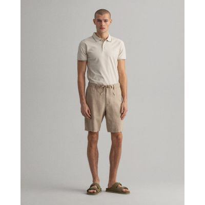 Relaxed Fit Linen Drawstring Shorts