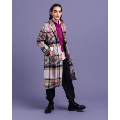 D1. CHECKED WOOL BLEND OVERCOAT