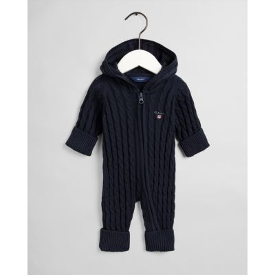 COTTON CABLE ZIP COVERALL